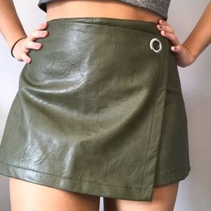 Faux leather skort